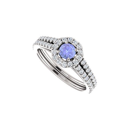 Tanzanite Double Row CZ Halo Ring 925 Sterling Silver - image 2 de 2