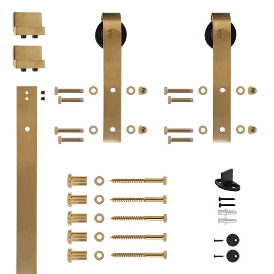 6.6 Ft. Soft Closed Satin Brass PVD Rolling Barn Door Hardware Kit with 2-3/4 in. Wheel