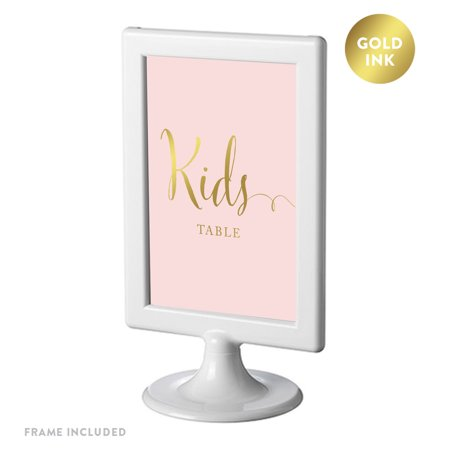 Children Come Frame - Framed Party Signs, Blush Pink with Gold Ink, 4x6-inch, Kids Table Sign, Double-Sided