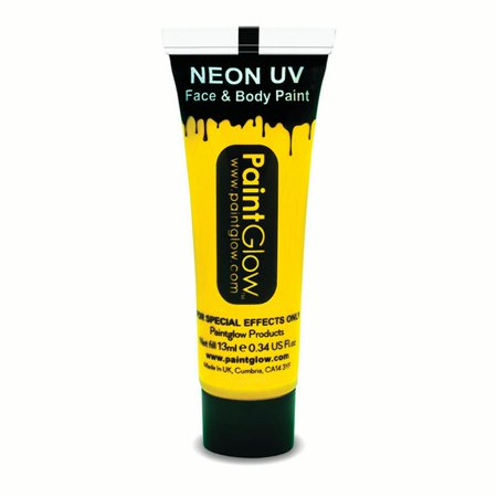 PaintGlow Neon UV Reactive Face & Body Paint 10ml Liquid Makeup, Neon Yellow - Bunny Face Paint Halloween