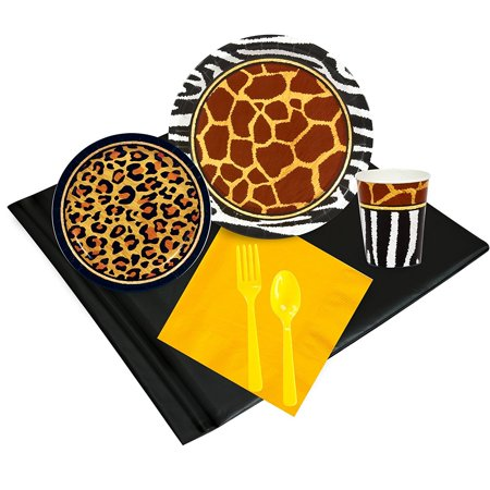 Safari Adventure Party Childrens Birthday Party Supplies - Tableware Party Pack (24), Safari Animal Adverture 24 Guest Party Pack includes 24 dinner plates,.., By BirthdayExpress (Animal Print Tableware)