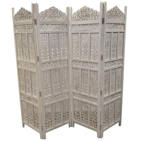 - Antique White 4 Panel Handcrafted Wood Room Partitions