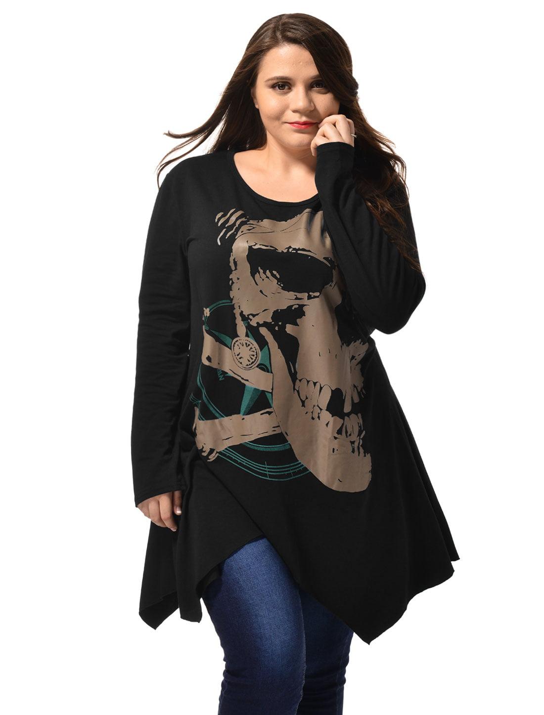 Unique Bargains Women's Long Sleeve Asymmetric Hem Skull Print Plus Size Blouse T-Shirt Black (Size 3X)