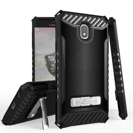 Beyond Cell Tri Shield Military Grade Drop Tested [MIL-STD 810G-516.6] Kickstand Cover Case and Atom Cloth for Samsung Galaxy J7 Refine - Dark Carbon