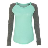 Boxercraft B71003192 Womens Preppy Patch Slub Long Sleeve T-Shirt, Mint & Granite - Extra Small