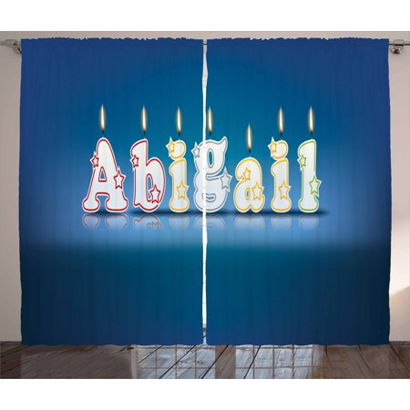 Abigail Curtains 2 Panels Set, Alphabet Letters for Sweet Birthday Cake Topping on Blue Backdrop Image, Window Drapes for Living Room Bedroom, 108W X 84L Inches, Blue and Multicolor, by Ambesonne