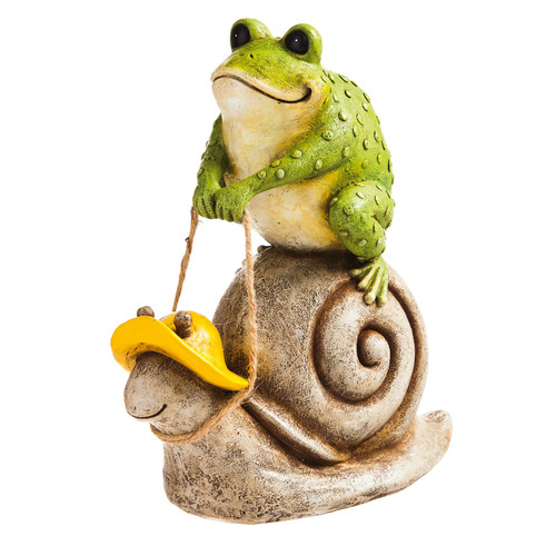 New Creative Snail Racing Frog Garden Statue