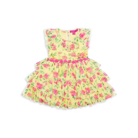 Little Girl's Floral-Print Ruffle Tulle Dress (Betsey Johnson Womens Dress)