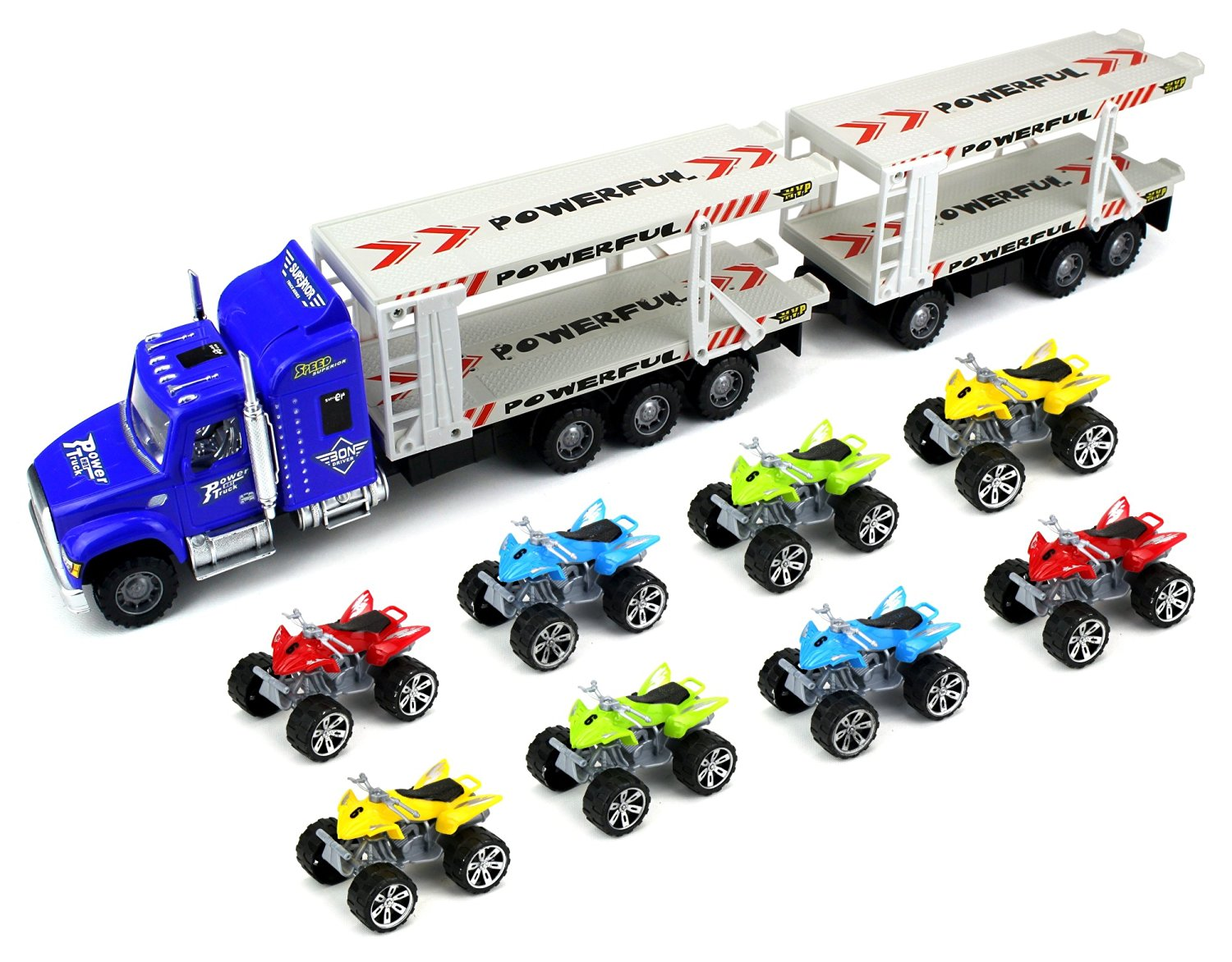 Power ATV Trailer Children's Friction Toy Transporter Truck Ready To Run 1:32 Scale w  8... by Velocity Toys