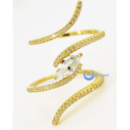 Spiral Fashion Ring PAMELA Signity CZ Pave/Prong Set YELLOW Gold over Sterling Silver (SIZE: 7)
