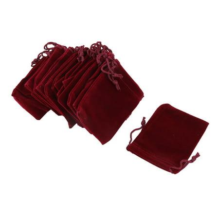 Velvet Sundries Pen Eraser Keychain Ring Holder Drawstring Bag Burgundy 20 - Ring Eraser