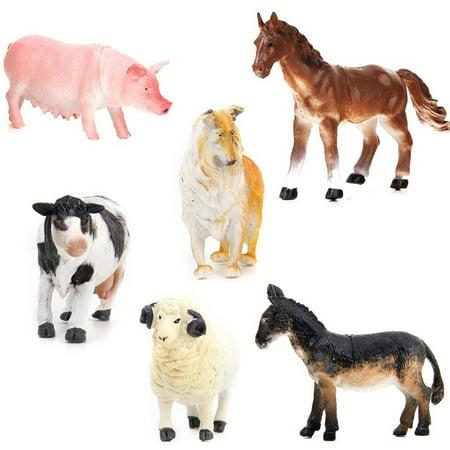 6pcs Model Farm Animal Figures Toy Pig Dog Cow Sheep Horse - Farm Animal Toys