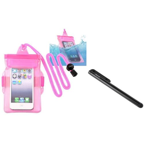 Insten Hot Pink Waterproof Bag Case Skin+Stylus Pen For iPod Touch 1 2 3 5 5th Gen 5G