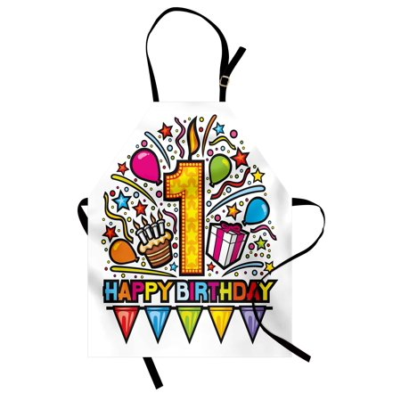 1st Birthday Apron Cartoon Pop Art Style Celebration Theme Party with Cake and Balloons Print, Unisex Kitchen Bib Apron with Adjustable Neck for Cooking Baking Gardening, Multicolor, by Ambesonne for $<!---->