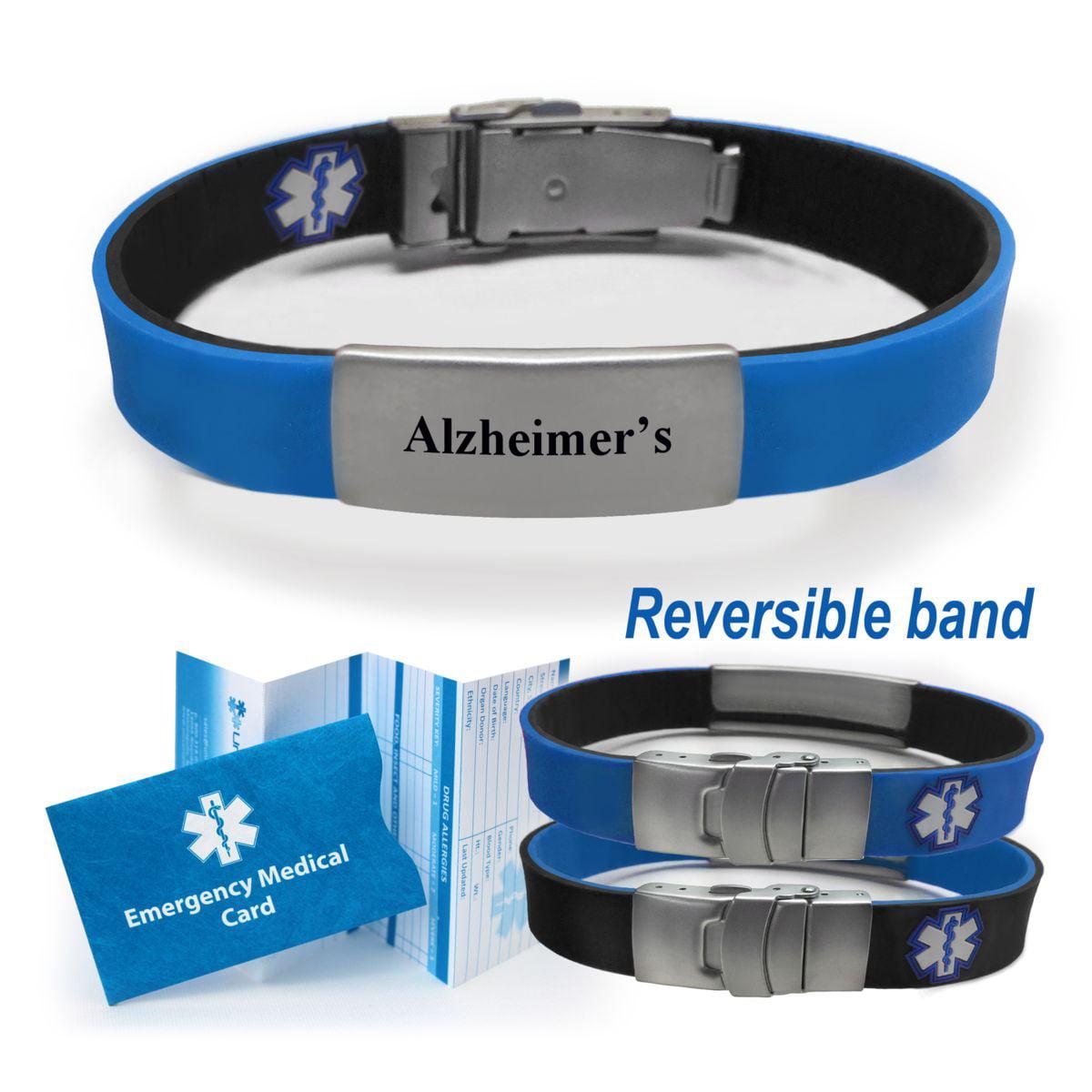 Universal Medical Data Alzheimer S Sport Slim Reversible Alert Id Bracelet Choose Color