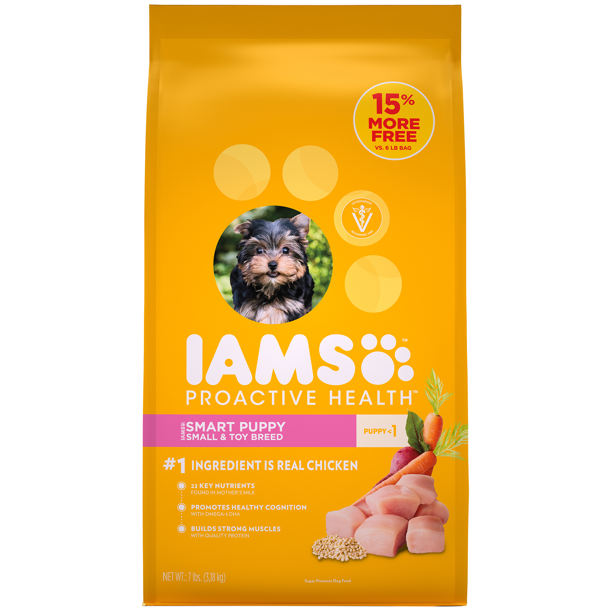 IAMS ProActive Health Smart Puppy Dry Dog Food for Small & Toy Dogs – Chicken, 7 Pound Bag