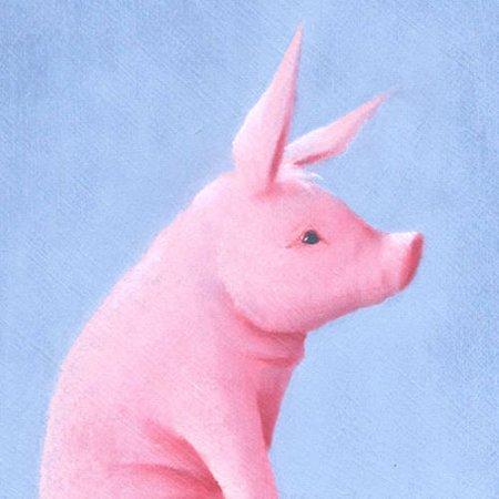 Oopsy Daisy - This Little Piggy Canvas Wall Art 14x14, Margot Curran