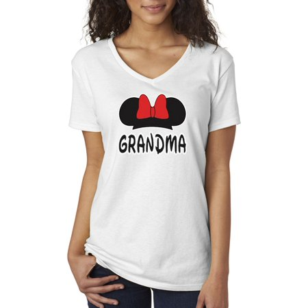 New Way 557 - Women's V-Neck T-Shirt Grandma Fan Minnie Mouse Ears Bow Family](Minnie Mouse Skirt)