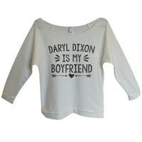 "Womens The Walking Dead 3/4 Sleeve ""Daryl Dixon Is My Boyfriend"" Daryl Dixon Sweat Shirt Gift Small, Beige"