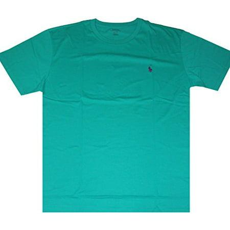 Polo Ralph Lauren Mens Crew-Neck Pony Logo T-Shirt Classic Fit (S, Pool Green/Purple