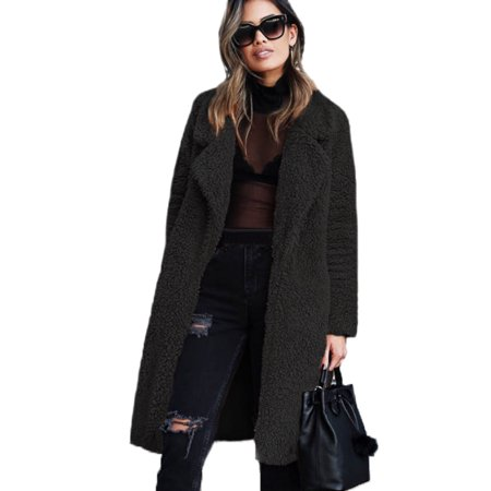 Women Faux Fur Parka Long Outwear Thicken Overcoat Fleece Jacket Teddy Coat