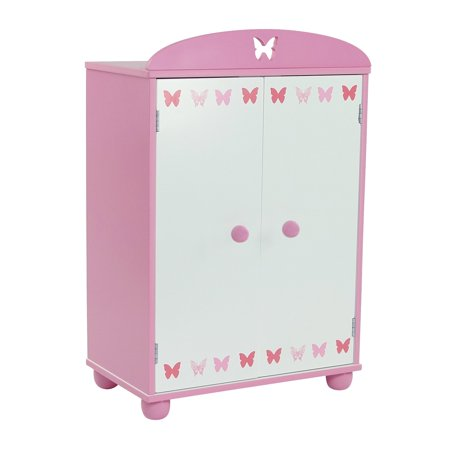 18 Inch Doll Furniture Beautiful Pink And White Armoire Closet With Erfly Detail Comes