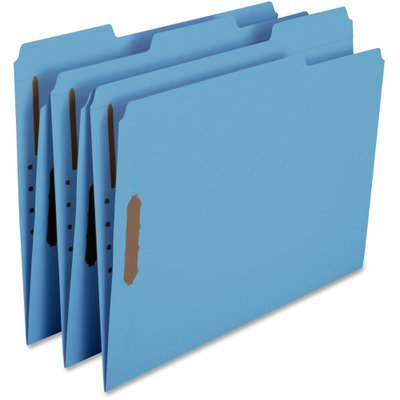 Colored File Folder - Smead 12040 Blue Colored Fastener File Folders with Reinforced Tabs SMD12040