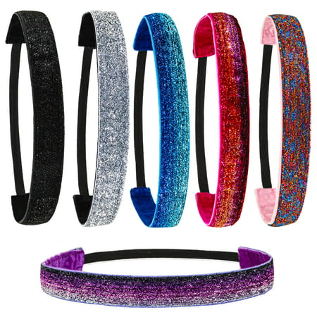 6 PCs Stretch Headbands with Glitter Fabric for Girls and Women - Sparkly Headband Set with Elastic Cord and Velvet Lining - Thin No Slip Headwrap - Fashion Hair Accessories - Cute Party Favors
