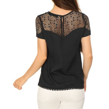 5eb7ae44 Allegra K Women Short Sleeves Semi Sheer Placket Front Guipure Lace Top  Black M - image ...