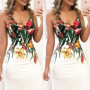 Summer Women Boho Holiday Strappy Floral Print Maxi Beach Sundress Party Long Dress