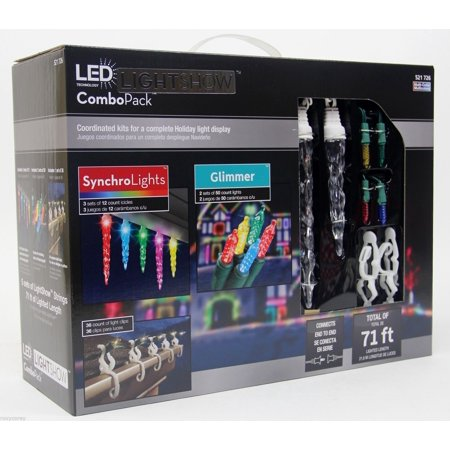 Gemmy Lightshow Combo Pack - 3 Sets of 12 SynchroLight Multi Color Icicles, 2 Sets of 50 Glimmer Light Strings and 36 Light Clips