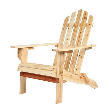 iCaber  Wood Adirondack Chair Outdoor Lounge Durable Chair For Patio Garden Furniture, Clear Lacquer Painted ()