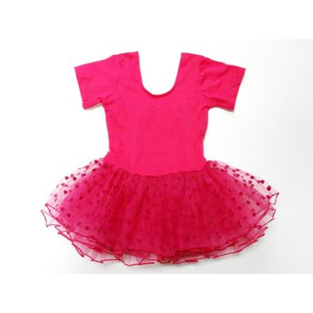 Hot Pink Hearts Short Sleeve Tutu Ballet Dress Girls L