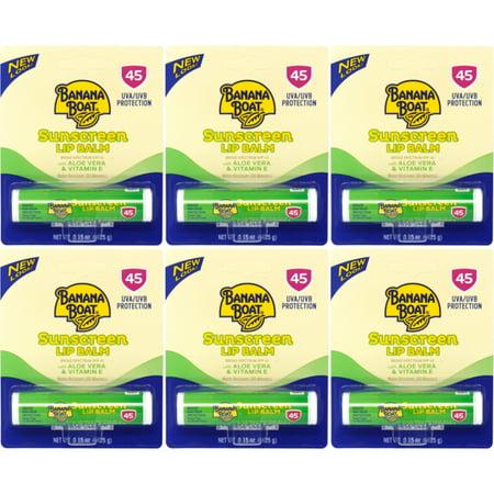 6 Pk Banana Boat Aloe Vera with Vitamin E Sunscreen Lip Balm, SPF 45 - .15oz Ea