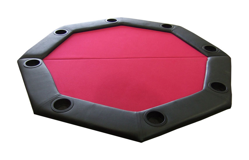 Padded Octagon Folding Poker Table Top w  Cup Holders Red by
