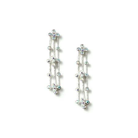 - Silver Aurora Borealis Rhinestone 3 Strand Dangle Earrings