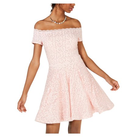 B. Darlin Womens Juniors Lace Sequined Party Dress Fuschia Juniors Dress