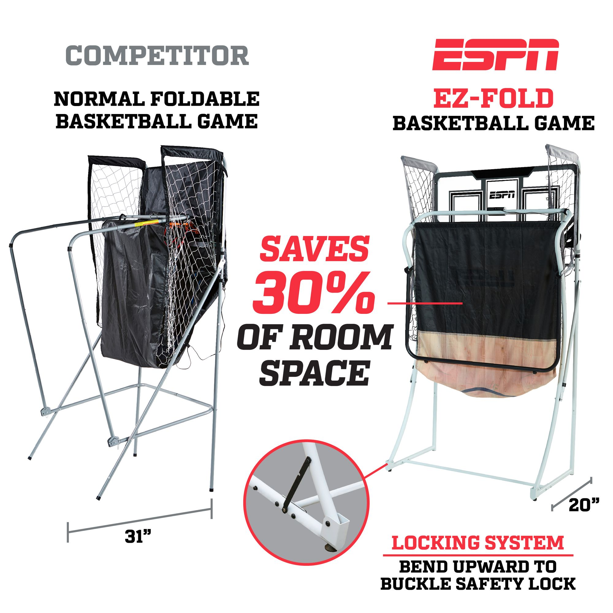 ESPN EZ-FOLD 2-Player Arcade Basketball Game with Authentic PC Backboard  and LED Scoring, 4 rubber basketballs, 1 air pump and needle