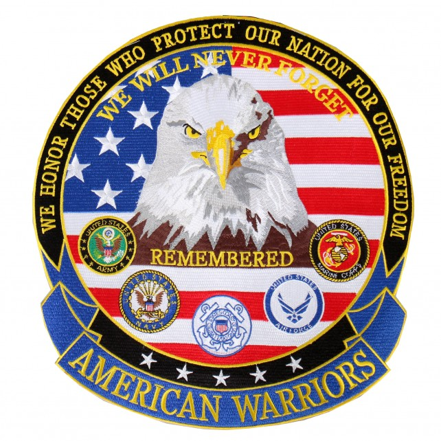 """American Warriors, Iron-on / Saw-on Rayon PATCH - 11"""" X 12"""""""