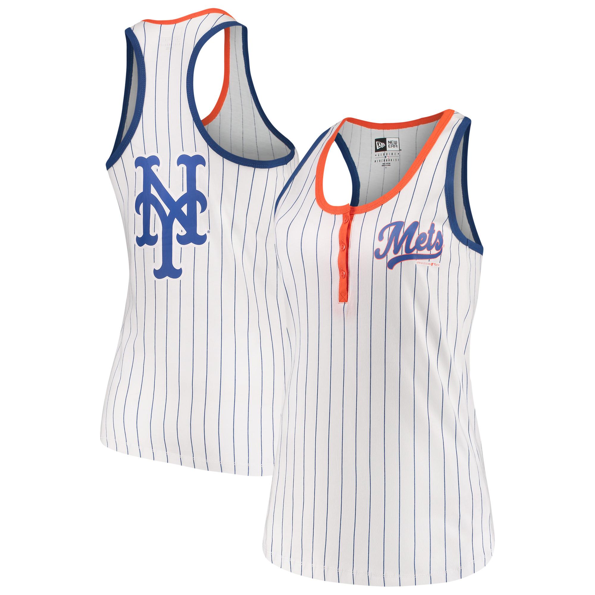 New York Mets 5th & Ocean by New Era Women's Pinstripe Henley Racerback Tank Top - White