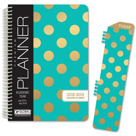 """HARDCOVER Academic Year Planner 2018-2019 - 5.5""""x8"""" Daily Planner / Weekly Planner / Monthly Planner / Yearly Agenda. Bonus BOOKMARK (Gold Dots Turquoise)"""