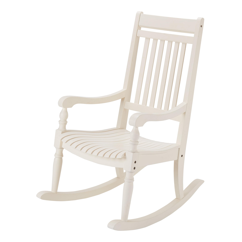 Better Homes U0026 Gardens Ridgely Slat Back Mahogany Rocking Chair, White    Walmart.com