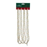 Club Pack of 12 Seasons of Elegance Ivory and Gold Pearlesque Beaded Christmas Garland 9'