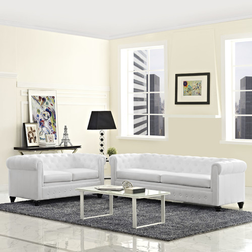 Modway Earl 2 Piece Faux Leather Tufted Sofa Set in White