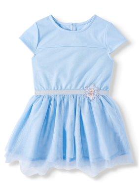 Disney Frozen 2 Elsa Toddler Girl Cosplay Short Sleeve Tulle Tutu Dress (2T-4T)