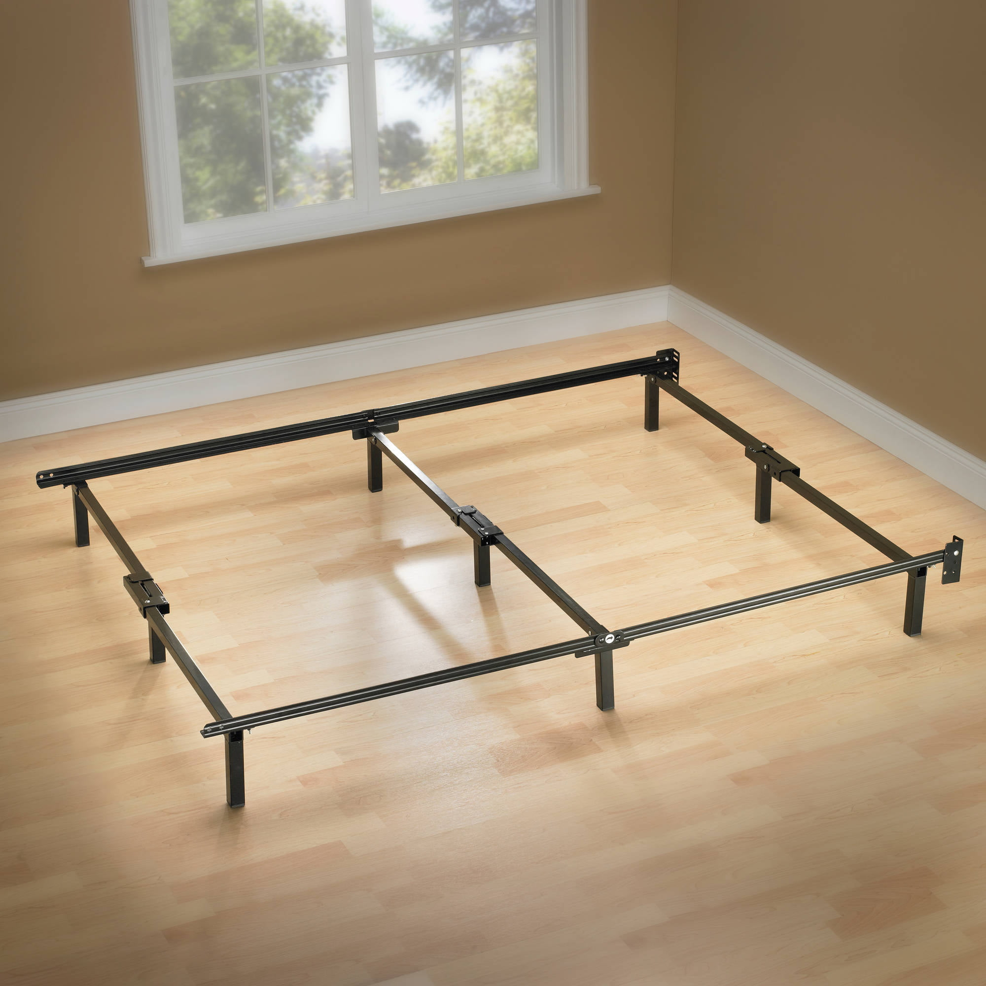 spa sensations 7 low profile adjustable steel bed frame easy no tools assembly multiple sizes walmartcom - Metal Bed Frames