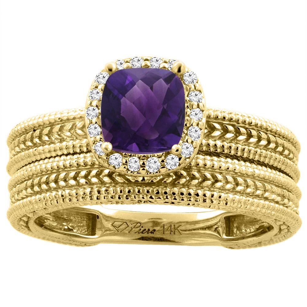 14K Yellow Gold Diamond Natural Amethyst 2-pc Engagement Ring Set Cushion 7x7 mm, size 6 by Gabriella Gold