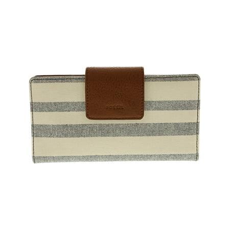 323b7551cf66 Fossil Women's Emma Rfid Tab Wallet Leather Clutch - Blue / White Stripe