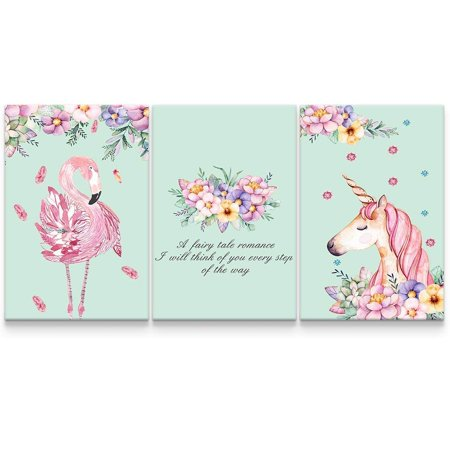 wall26 - 3 Panel Canvas Wall Art - Pastel Floral Flamingo and Unicorn Triptych Canvas Art - Giclee Print Gallery Wrap Modern Home Decor Ready to Hang - 24