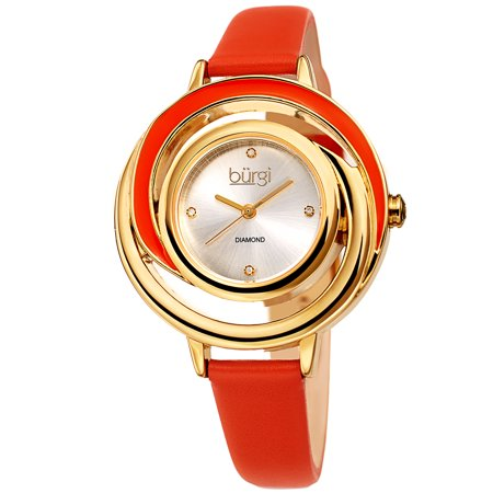 Gold Tone Casual Quartz Watch With Leather Strap [BUR210OR]